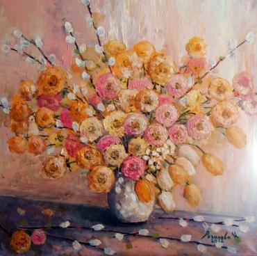 Цветы Ранункулис и верба