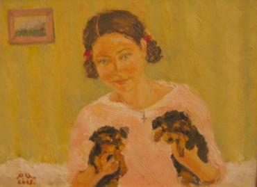 Девочка с щенками