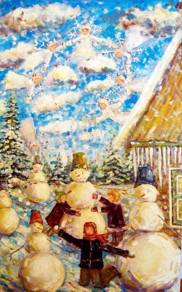 Снеговики и снежинки